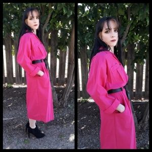 Fun vintage 80's hot pink shirt waist dress!!